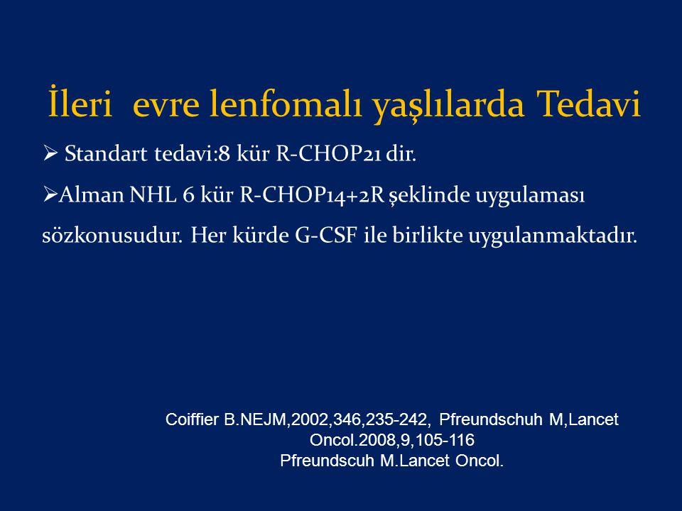 İleri evre lenfomalı yaşlılarda Tedavi  Standart tedavi:8 kür R-CHOP21 dir.  Alman NHL 6 kür R-CHOP14+2R şeklinde uygulaması sözkonusudur. Her kürde