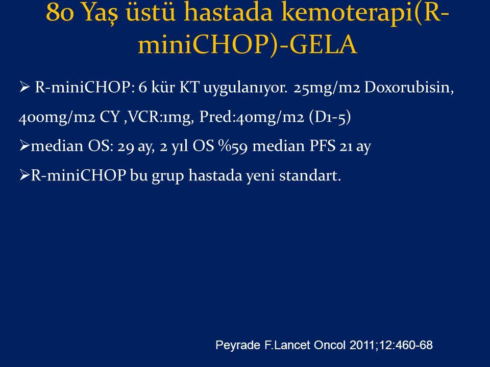 80 Yaş üstü hastada kemoterapi(R- miniCHOP)-GELA  R-miniCHOP: 6 kür KT uygulanıyor. 25mg/m2 Doxorubisin, 400mg/m2 CY,VCR:1mg, Pred:40mg/m2 (D1-5)  m