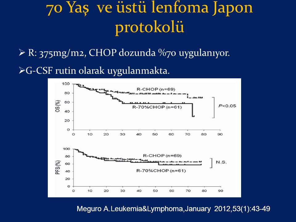 70 Yaş ve üstü lenfoma Japon protokolü  R: 375mg/m2, CHOP dozunda %70 uygulanıyor.  G-CSF rutin olarak uygulanmakta. Meguro A.Leukemia&Lymphoma,Janu
