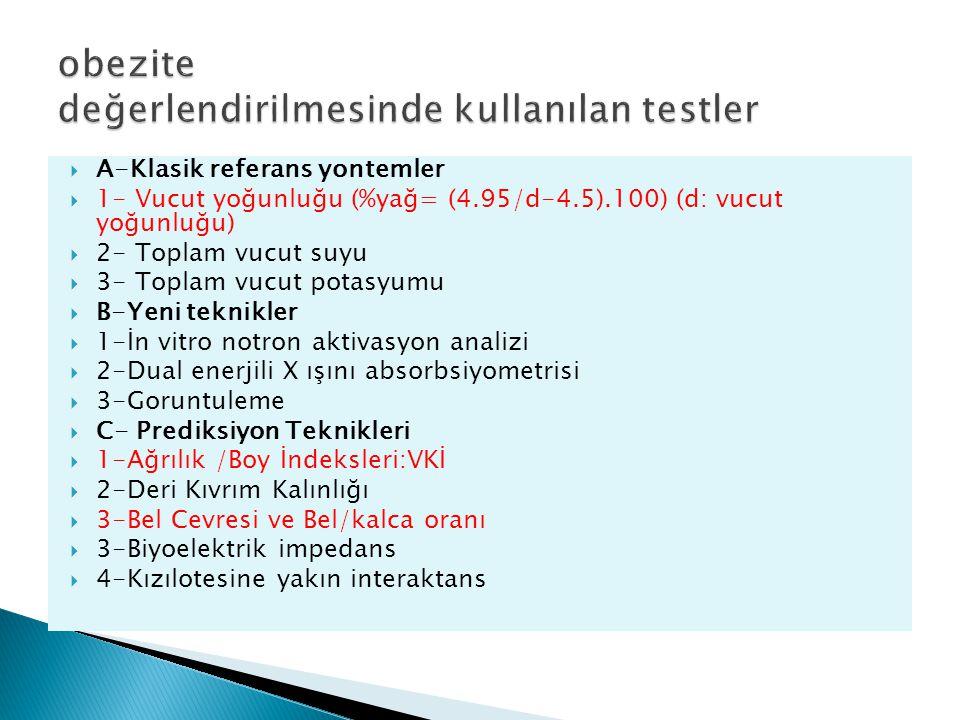 A-Klasik referans yontemler  1- Vucut yoğunluğu (%yağ= (4.95/d-4.5).100) (d: vucut yoğunluğu)  2- Toplam vucut suyu  3- Toplam vucut potasyumu 