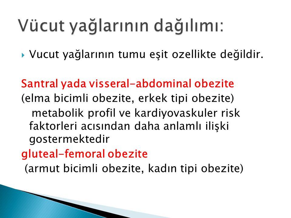 Vucut yağlarının tumu eşit ozellikte değildir. Santral yada visseral-abdominal obezite (elma bicimli obezite, erkek tipi obezite) metabolik profil v