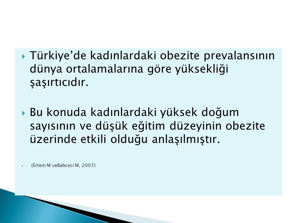  Türkiye'de kadınlardaki obezite prevalansının dünya ortalamalarına göre yüksekliği şaşırtıcıdır.  Bu konuda kadınlardaki yüksek doğum sayısının ve