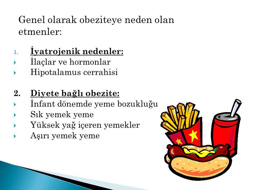 1. İyatrojenik nedenler:  İlaçlar ve hormonlar  Hipotalamus cerrahisi 2. Diyete bağlı obezite:  İnfant dönemde yeme bozukluğu  Sık yemek yeme  Yü