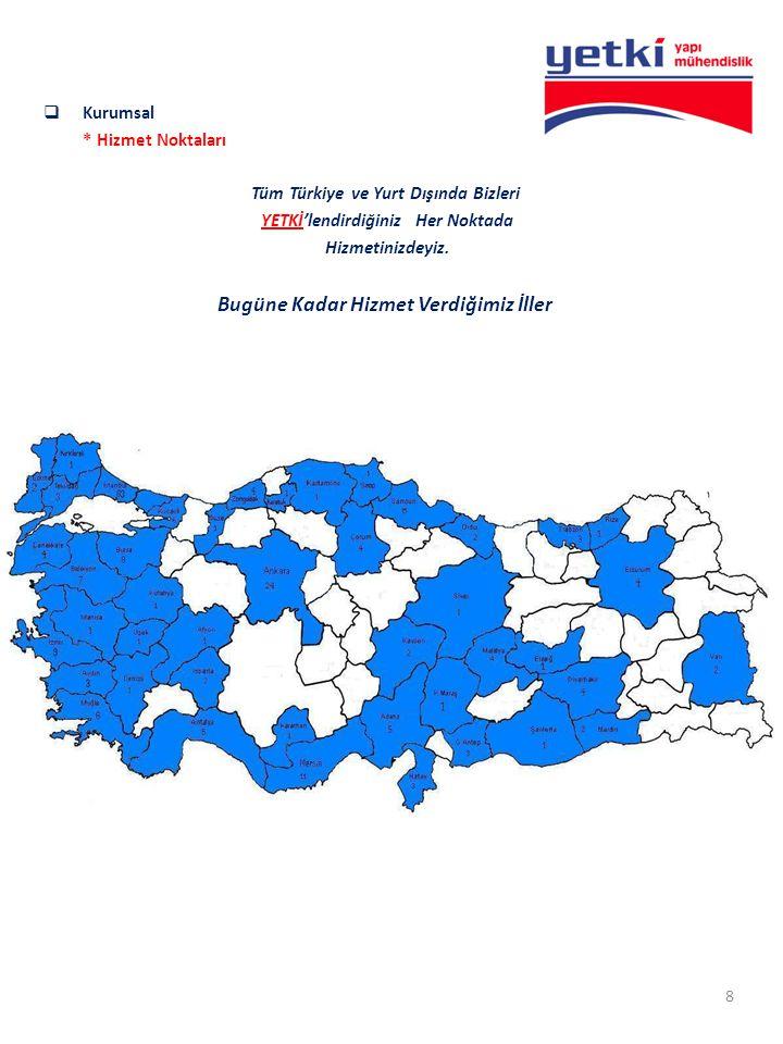  Kurumsal * Hizmet Noktaları Tüm Türkiye ve Yurt Dışında Bizleri YETKİ'lendirdiğiniz Her Noktada Hizmetinizdeyiz. Bugüne Kadar Hizmet Verdiğimiz İlle