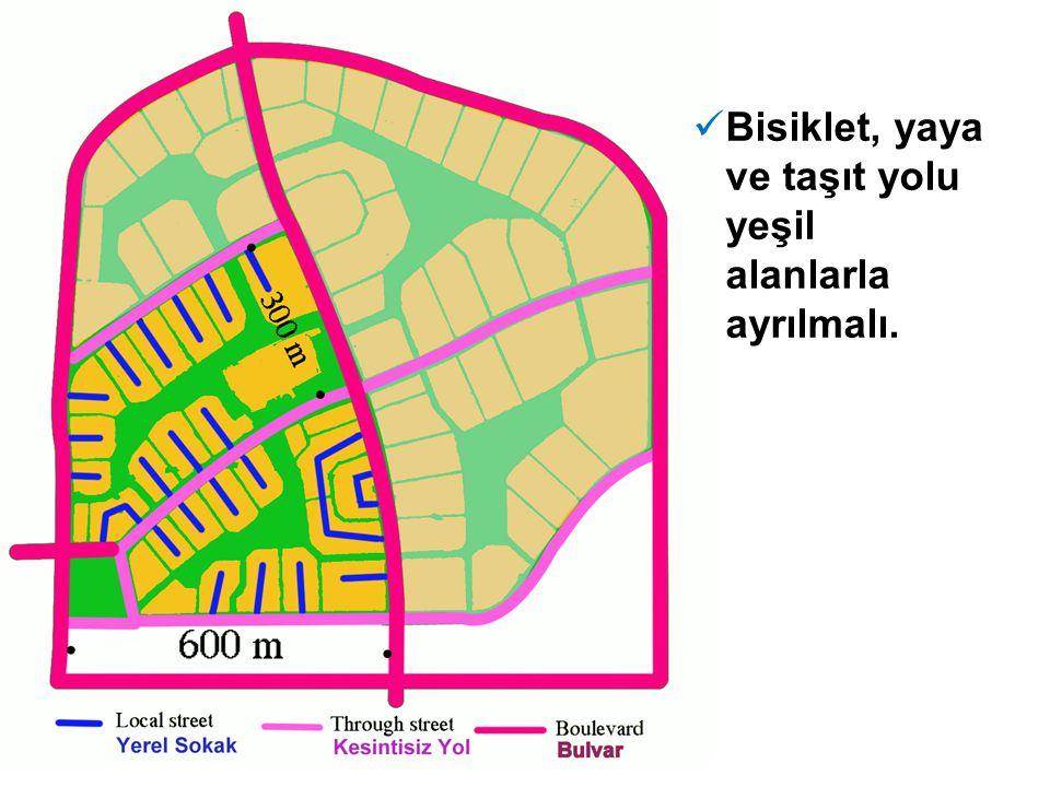  Bisiklet, yaya ve taşıt yolu yeşil alanlarla ayrılmalı.