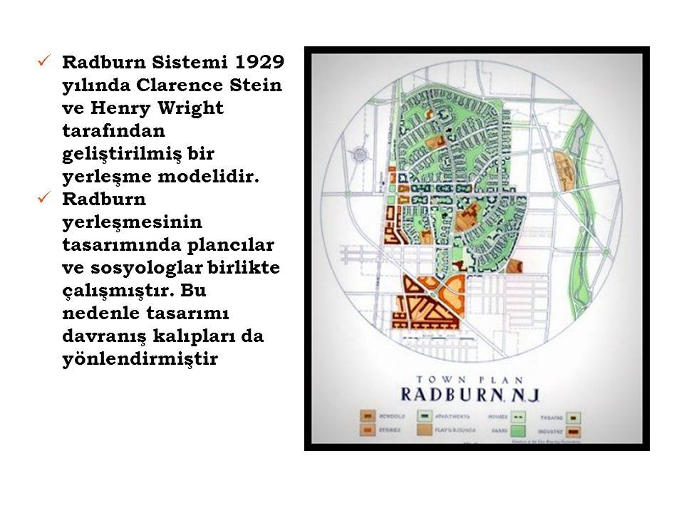  Radburn Sistemi 1929 yılında Clarence Stein ve Henry Wright tarafından geliştirilmiş bir yerleşme modelidir.  Radburn yerleşmesinin tasarımında pla