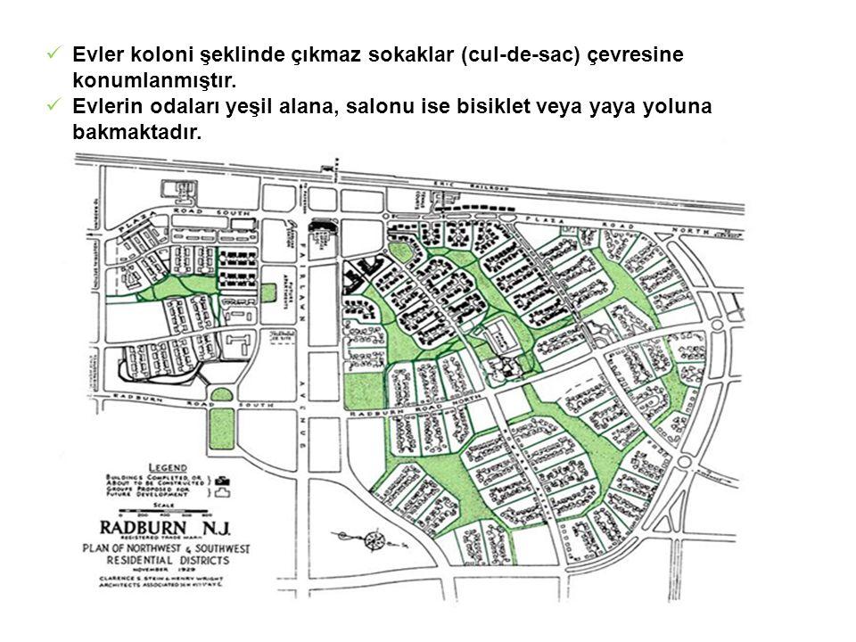  Evler koloni şeklinde çıkmaz sokaklar (cul-de-sac) çevresine konumlanmıştır.  Evlerin odaları yeşil alana, salonu ise bisiklet veya yaya yoluna bak