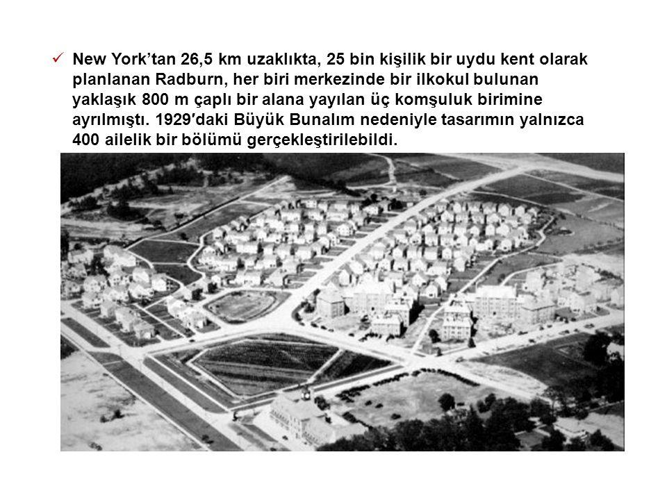  New York'tan 26,5 km uzaklıkta, 25 bin kişilik bir uydu kent olarak planlanan Radburn, her biri merkezinde bir ilkokul bulunan yaklaşık 800 m çaplı