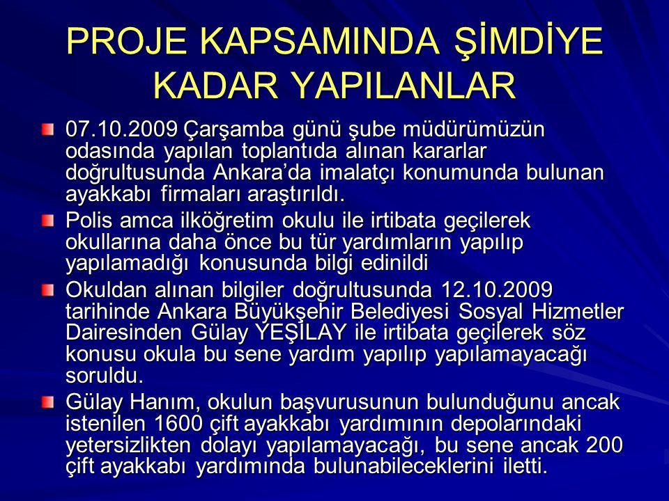 PROJE KAPSAMINDA ŞİMDİYE KADAR YAPILANLAR 07.10.2009 Çarşamba günü şube müdürümüzün odasında yapılan toplantıda alınan kararlar doğrultusunda Ankara'd