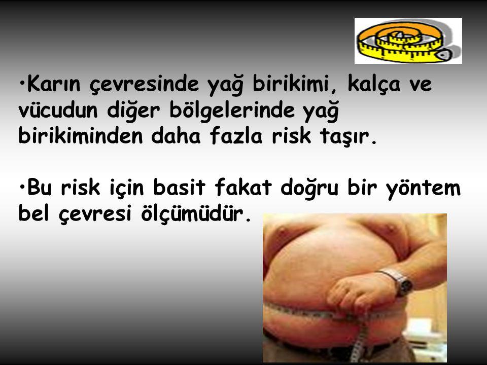 •Karın çevresinde yağ birikimi, kalça ve vücudun diğer bölgelerinde yağ birikiminden daha fazla risk taşır. •Bu risk için basit fakat doğru bir yöntem
