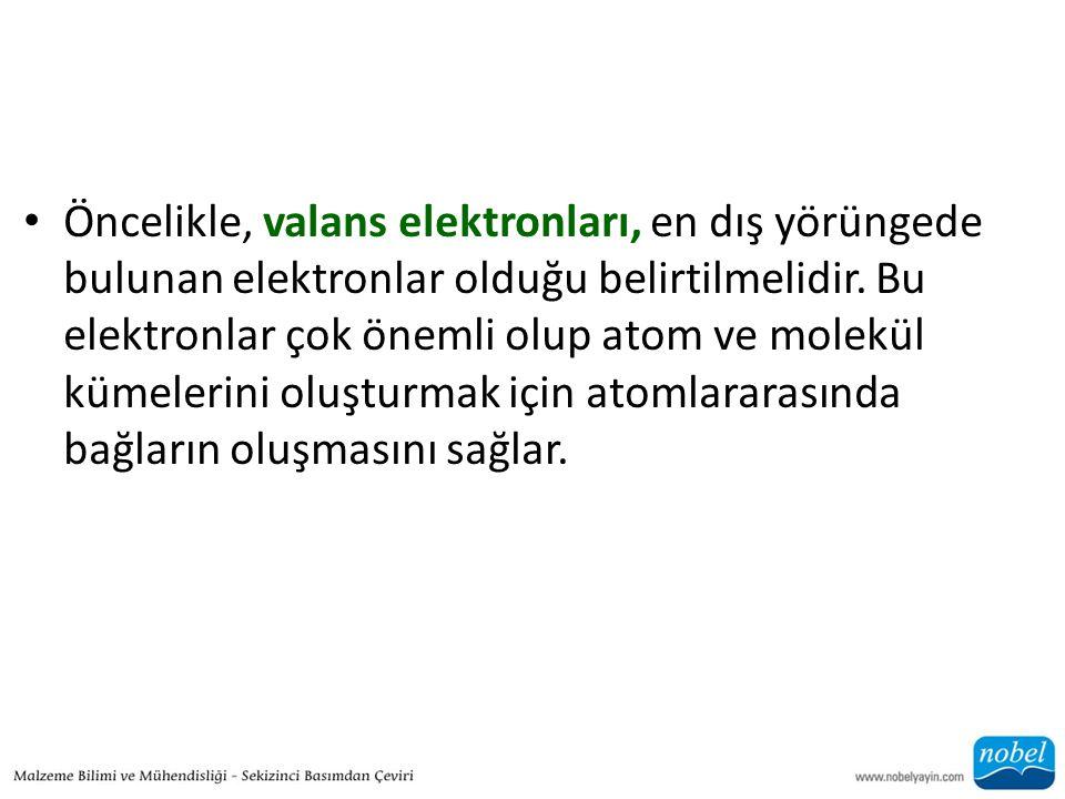 • Öncelikle, valans elektronları, en dış yörüngede bulunan elektronlar olduğu belirtilmelidir. Bu elektronlar çok önemli olup atom ve molekül kümeleri