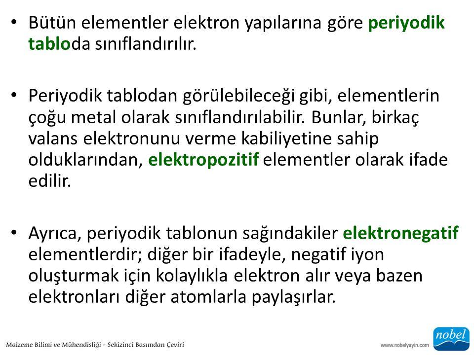 • Bütün elementler elektron yapılarına göre periyodik tabloda sınıflandırılır. • Periyodik tablodan görülebileceği gibi, elementlerin çoğu metal olara