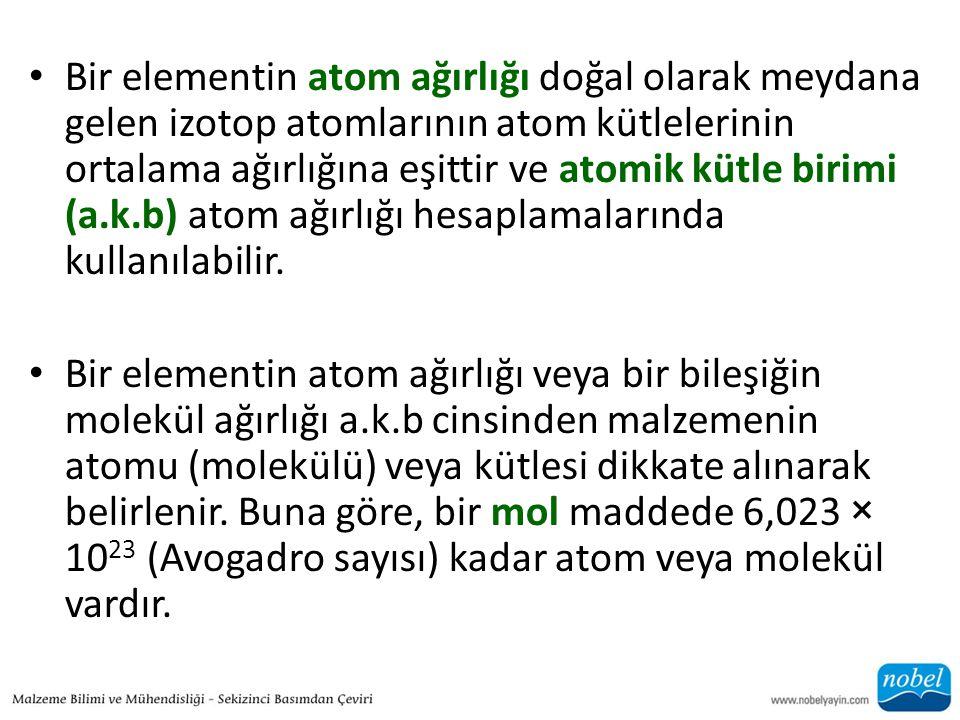 • Bir elementin atom ağırlığı doğal olarak meydana gelen izotop atomlarının atom kütlelerinin ortalama ağırlığına eşittir ve atomik kütle birimi (a.k.b) atom ağırlığı hesaplamalarında kullanılabilir.