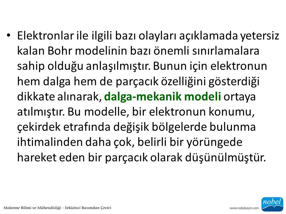 • Elektronlar ile ilgili bazı olayları açıklamada yetersiz kalan Bohr modelinin bazı önemli sınırlamalara sahip olduğu anlaşılmıştır. Bunun için elekt
