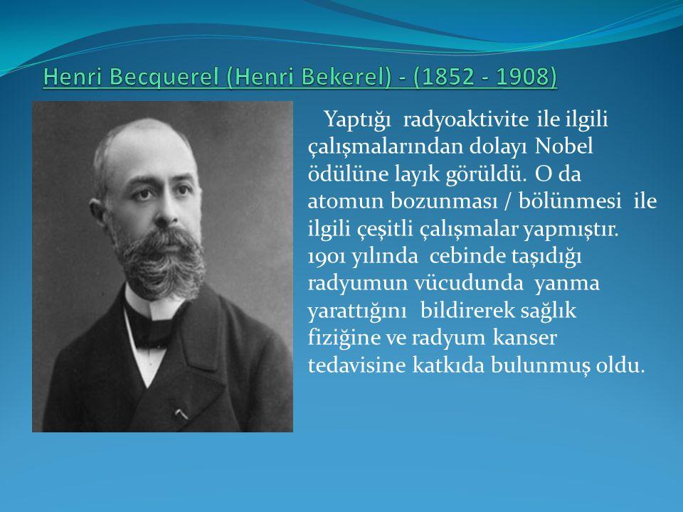 Yaptığı radyoaktivite ile ilgili çalışmalarından dolayı Nobel ödülüne layık görüldü. O da atomun bozunması / bölünmesi ile ilgili çeşitli çalışmalar y