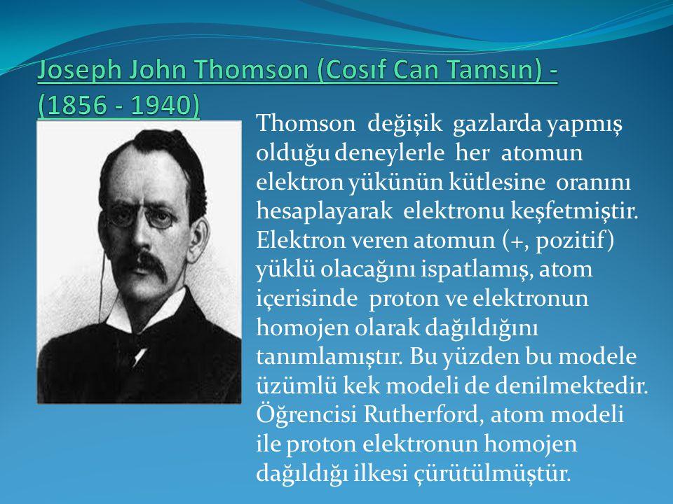 Thomson değişik gazlarda yapmış olduğu deneylerle her atomun elektron yükünün kütlesine oranını hesaplayarak elektronu keşfetmiştir. Elektron veren at