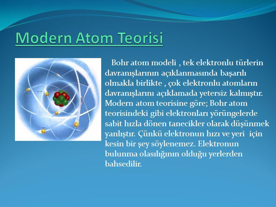 Bohr atom modeli, tek elektronlu türlerin davranışlarının açıklanmasında başarılı olmakla birlikte, çok elektronlu atomların davranışlarını açıklamada