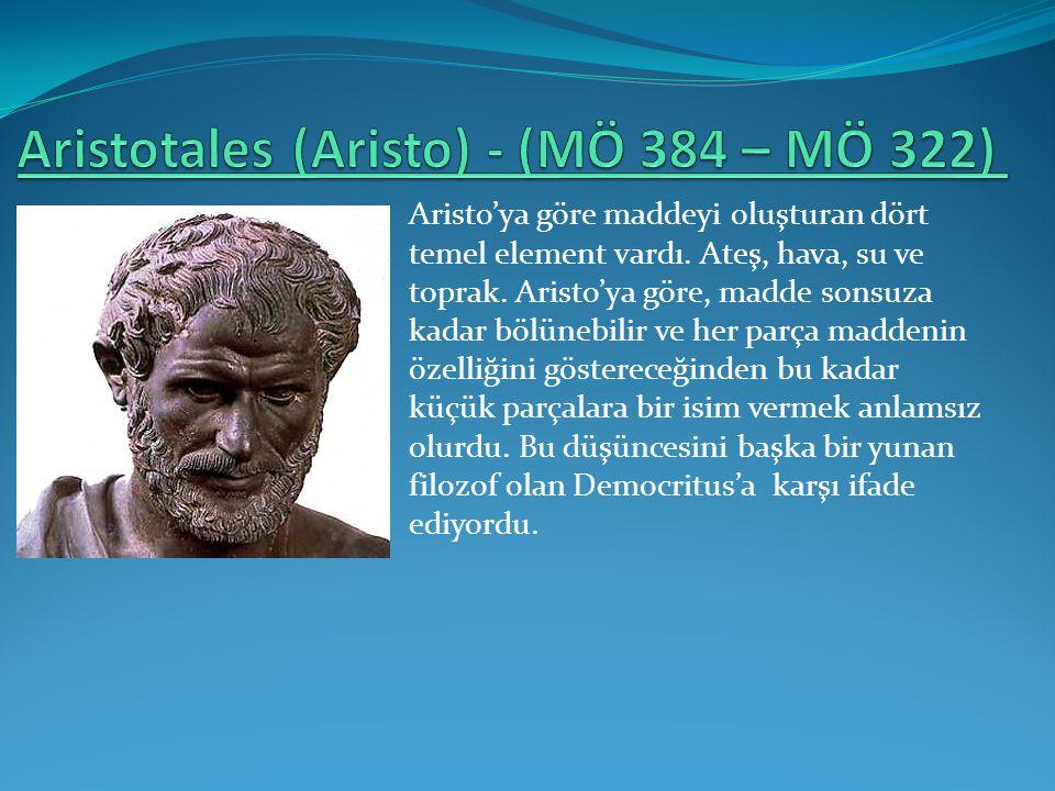 Aristo'ya göre maddeyi oluşturan dört temel element vardı. Ateş, hava, su ve toprak. Aristo'ya göre, madde sonsuza kadar bölünebilir ve her parça madd