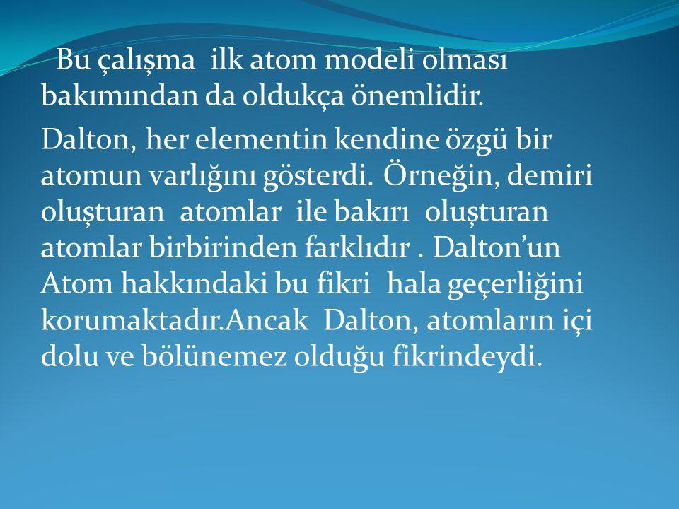 Bu çalışma ilk atom modeli olması bakımından da oldukça önemlidir. Dalton, her elementin kendine özgü bir atomun varlığını gösterdi. Örneğin, demiri o
