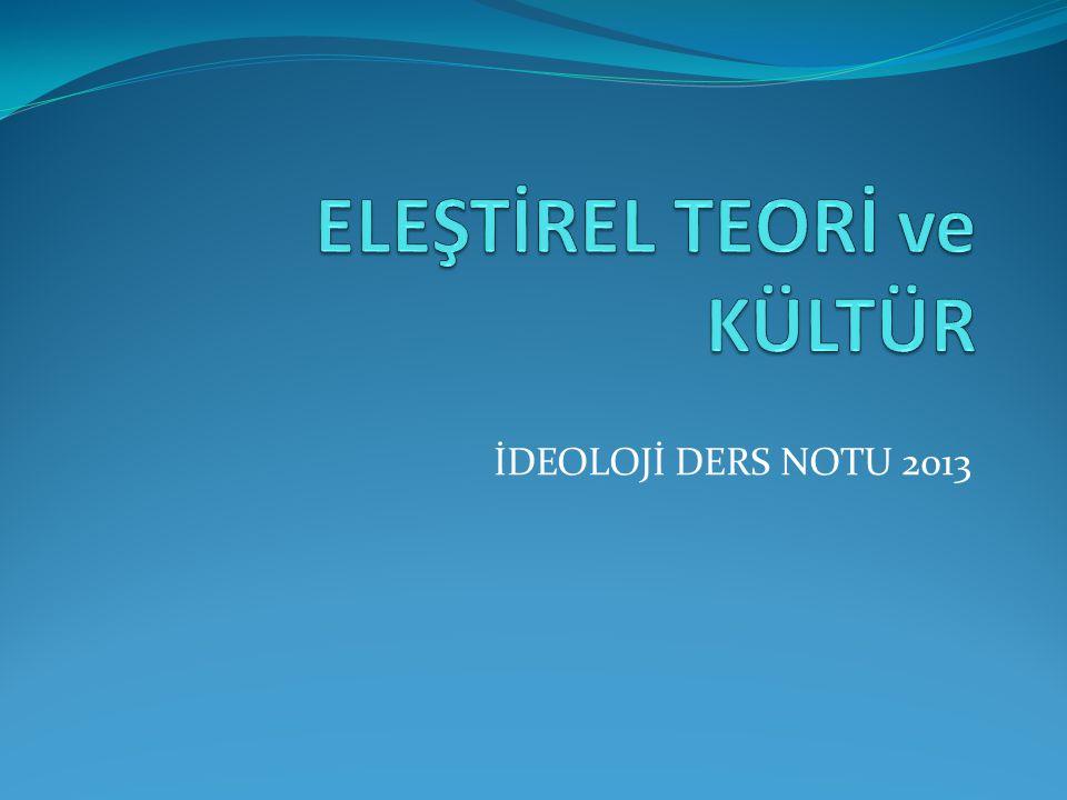 İDEOLOJİ DERS NOTU 2013