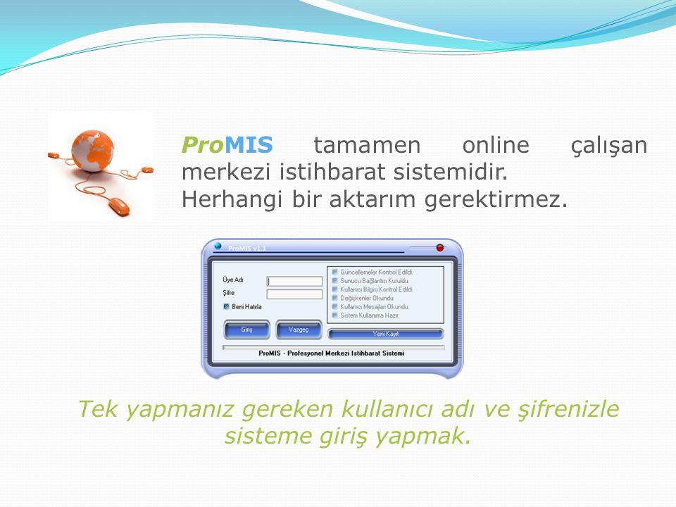ProMIS tamamen online çalışan merkezi istihbarat sistemidir. Herhangi bir aktarım gerektirmez. Tek yapmanız gereken kullanıcı adı ve şifrenizle sistem