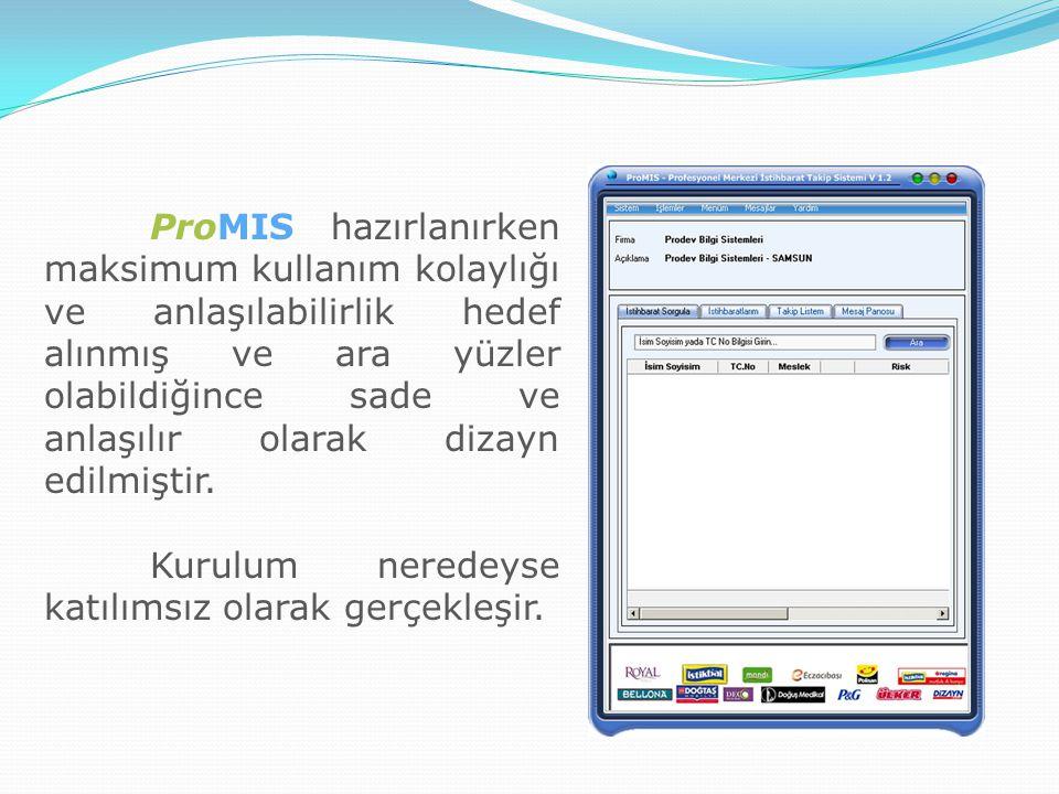 ProMIS hazırlanırken maksimum kullanım kolaylığı ve anlaşılabilirlik hedef alınmış ve ara yüzler olabildiğince sade ve anlaşılır olarak dizayn edilmiş