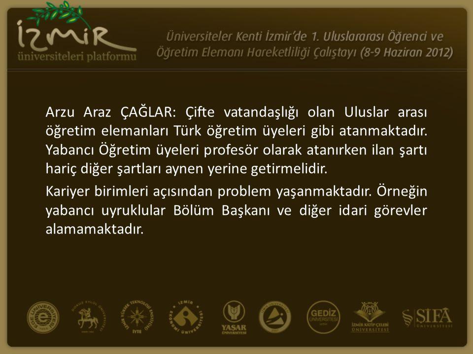 Arzu Araz ÇAĞLAR: Çifte vatandaşlığı olan Uluslar arası öğretim elemanları Türk öğretim üyeleri gibi atanmaktadır. Yabancı Öğretim üyeleri profesör ol