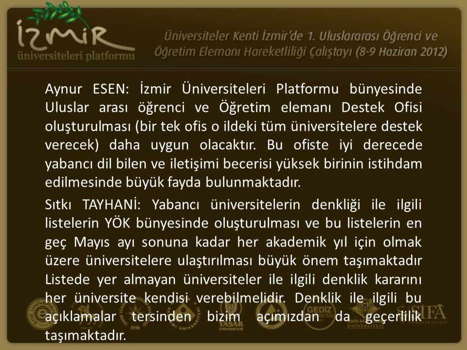 Aynur ESEN: İzmir Üniversiteleri Platformu bünyesinde Uluslar arası öğrenci ve Öğretim elemanı Destek Ofisi oluşturulması (bir tek ofis o ildeki tüm ü