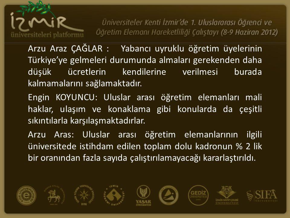 Arzu Araz ÇAĞLAR : Yabancı uyruklu öğretim üyelerinin Türkiye'ye gelmeleri durumunda almaları gerekenden daha düşük ücretlerin kendilerine verilmesi b
