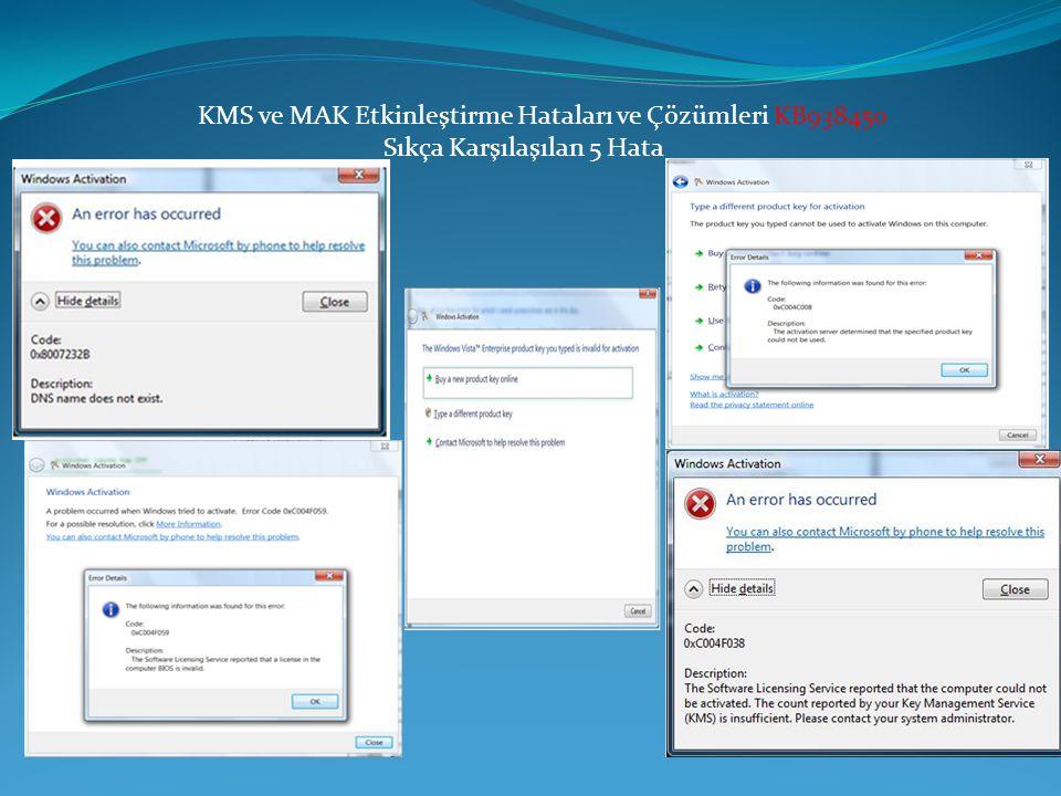 KMS ve MAK Etkinleştirme Hataları ve Çözümleri KB938450 Sıkça Karşılaşılan 5 Hata