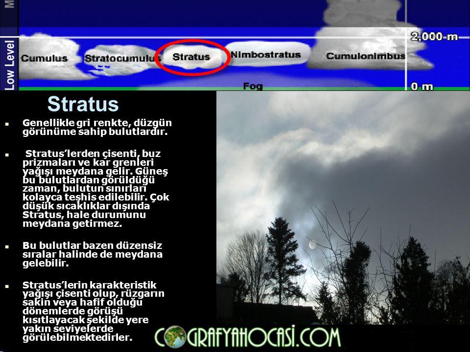 Stratus  Genellikle gri renkte, düzgün görünüme sahip bulutlardır.  Stratus'lerden çisenti, buz prizmaları ve kar grenleri yağışı meydana gelir. Gün