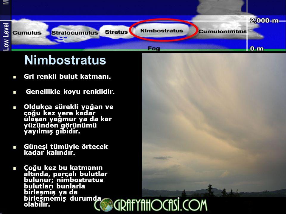 Nimbostratus  Gri renkli bulut katmanı.  Genellikle koyu renklidir.  Oldukça sürekli yağan ve çoğu kez yere kadar ulaşan yağmur ya da kar yüzünden