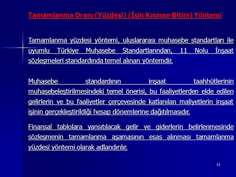13 Tamamlanma Oranı (Yüzdesi) (İşin Kısmen Bitim) Yöntemi Tamamlanma yüzdesi yöntemi, uluslararası muhasebe standartları ile uyumlu Türkiye Muhasebe Standartlarından, 11 Nolu İnşaat sözleşmeleri standardında temel alınan yöntemdir.