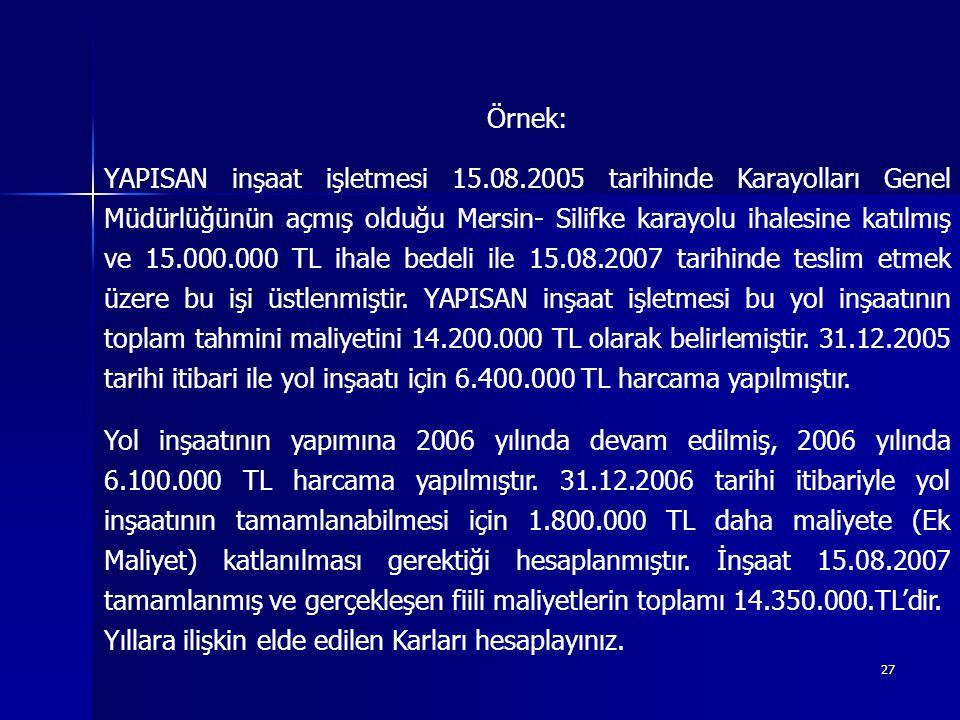 27 Örnek: YAPISAN inşaat işletmesi 15.08.2005 tarihinde Karayolları Genel Müdürlüğünün açmış olduğu Mersin- Silifke karayolu ihalesine katılmış ve 15.000.000 TL ihale bedeli ile 15.08.2007 tarihinde teslim etmek üzere bu işi üstlenmiştir.