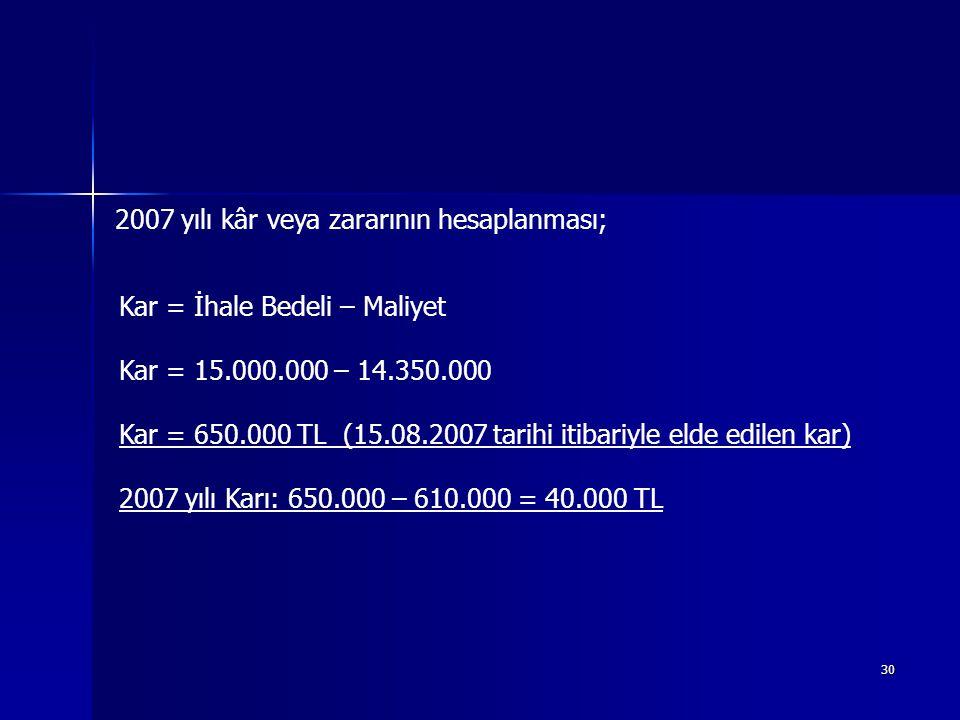 30 2007 yılı kâr veya zararının hesaplanması; Kar = İhale Bedeli – Maliyet Kar = 15.000.000 – 14.350.000 Kar = 650.000 TL (15.08.2007 tarihi itibariyle elde edilen kar) 2007 yılı Karı: 650.000 – 610.000 = 40.000 TL
