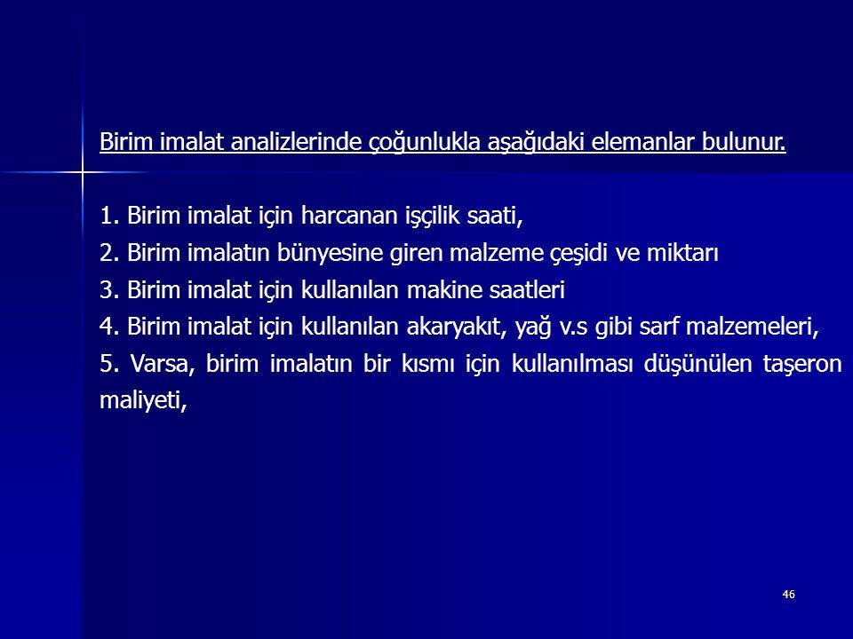 46 Birim imalat analizlerinde çoğunlukla aşağıdaki elemanlar bulunur.