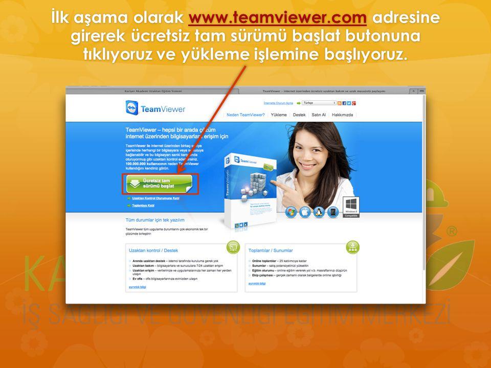 İlk aşama olarak www.teamviewer.com adresine girerek ücretsiz tam sürümü başlat butonuna tıklıyoruz ve yükleme işlemine başlıyoruz. www.teamviewer.com