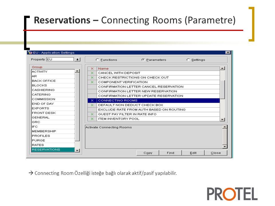 Reservations – Connecting Rooms (Parametre)  Connecting Room Özelliği isteğe bağlı olarak aktif/pasif yapılabilir.