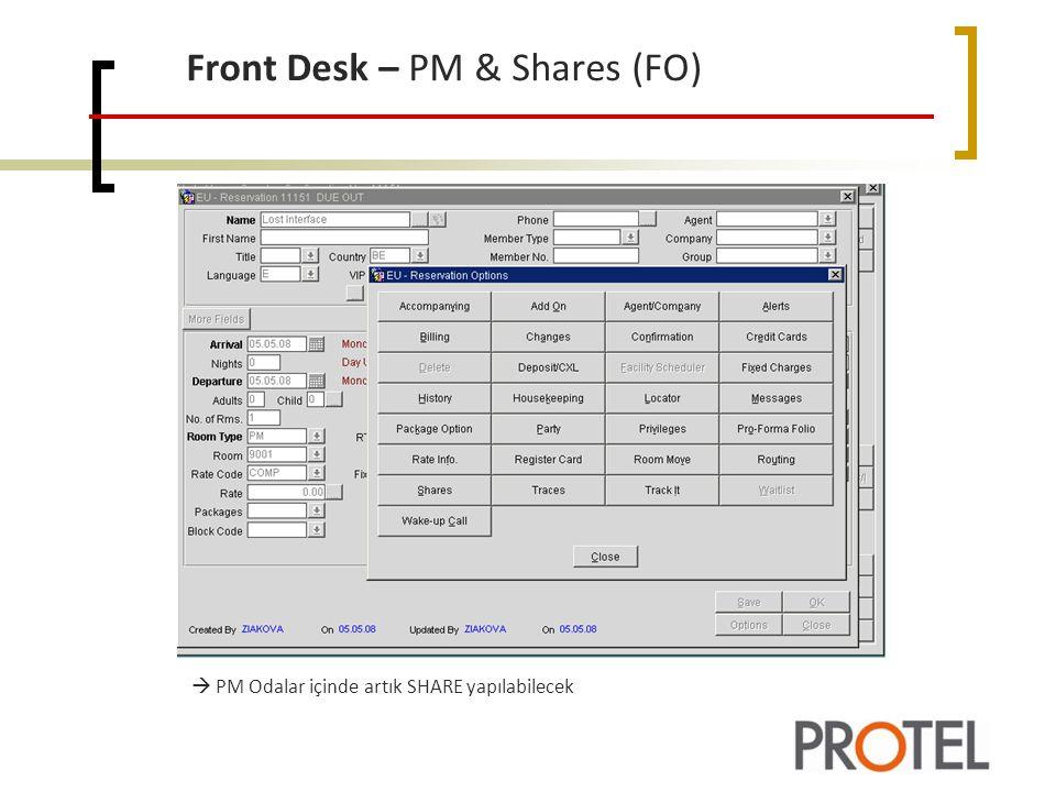 Front Desk – PM & Shares (FO)  PM Odalar içinde artık SHARE yapılabilecek