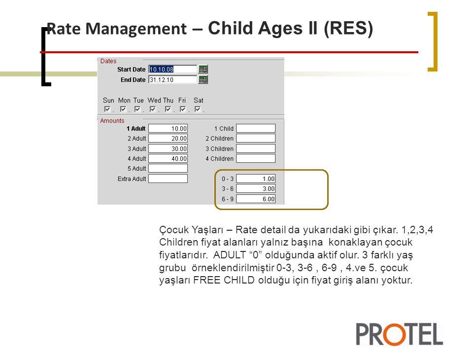 Rate Management – Child Ages II (RES) Çocuk Yaşları – Rate detail da yukarıdaki gibi çıkar.