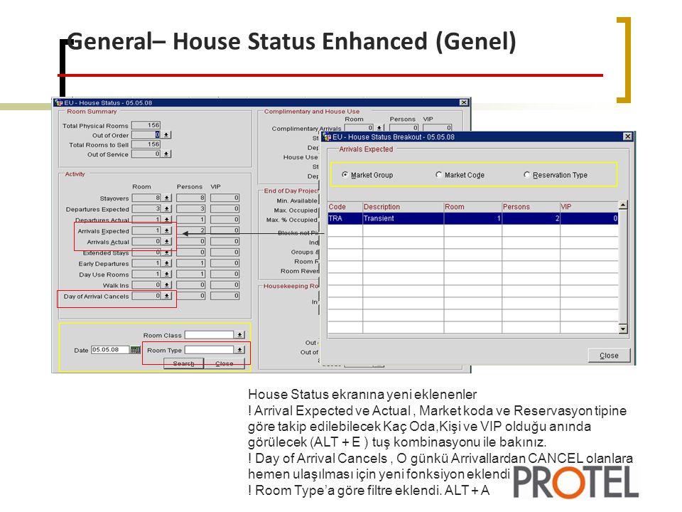 General– House Status Enhanced (Genel) House Status ekranına yeni eklenenler .