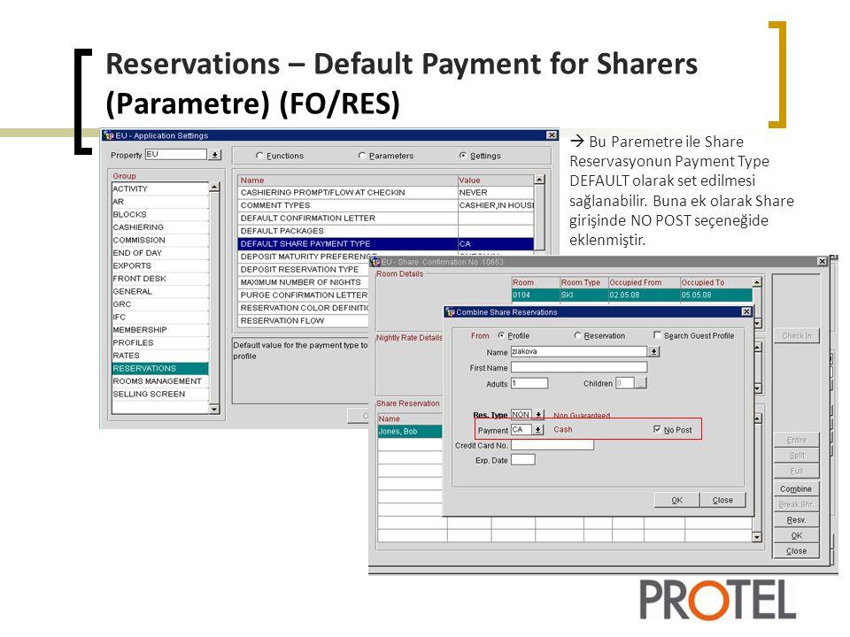 Reservations – Share Rate Splitting (FO/RES)  RATE FIX yapılan Share Reservasyon ENTIRE, FULL, SPLIT yapılabilir.