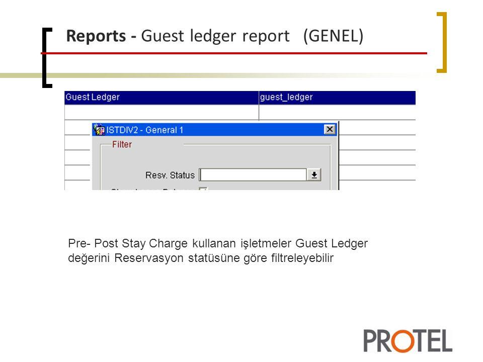 Reports - Guest ledger report (GENEL) Pre- Post Stay Charge kullanan işletmeler Guest Ledger değerini Reservasyon statüsüne göre filtreleyebilir