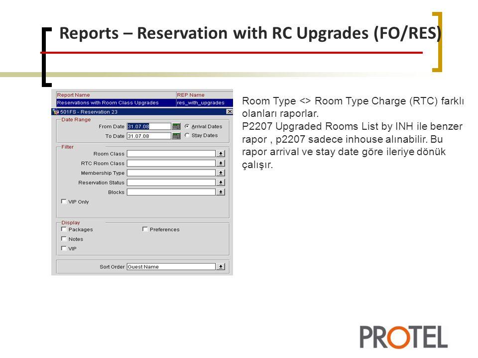 Reports – Reservation with RC Upgrades (FO/RES) Room Type <> Room Type Charge (RTC) farklı olanları raporlar.