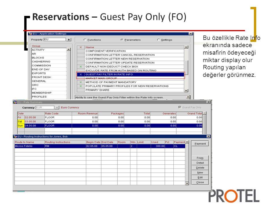 Reservation – Room Instructions(FO/RES) Group Reservasyonlarda Room instruction'da yapılan güncellemeler tüm group üyeleri içinde otomatik olarak güncellenebilir.