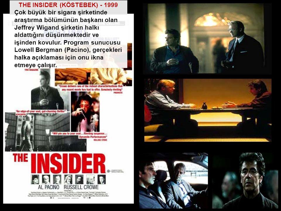 THE INSIDER (KÖSTEBEK) - 1999 Çok büyük bir sigara şirketinde araştırma bölümünün başkanı olan Jeffrey Wigand şirketin halkı aldattığını düşünmektedir