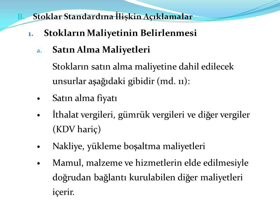 B.Stoklar Standardına İlişkin Açıklamalar 1. Stokların Maliyetinin Belirlenmesi a.