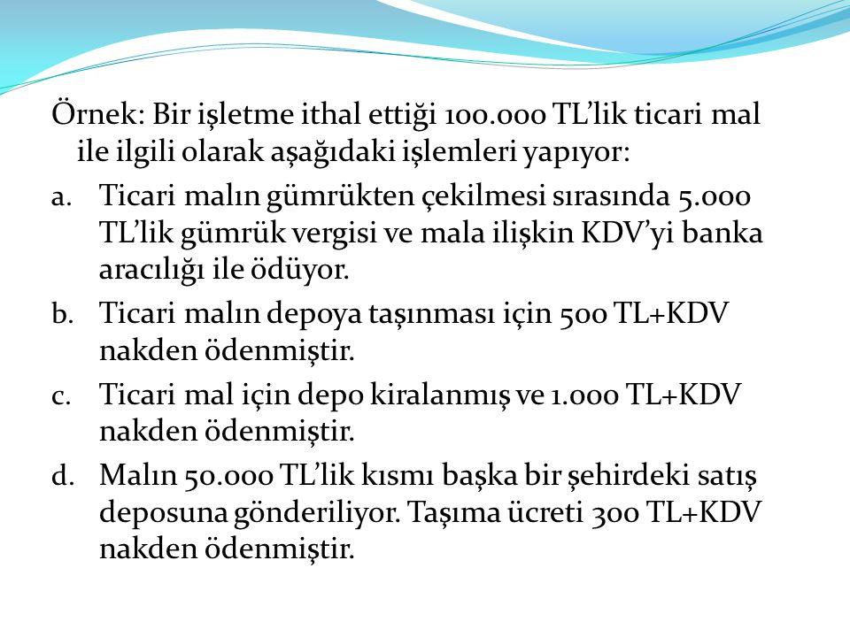 Örnek: Bir işletme ithal ettiği 100.000 TL'lik ticari mal ile ilgili olarak aşağıdaki işlemleri yapıyor: a.