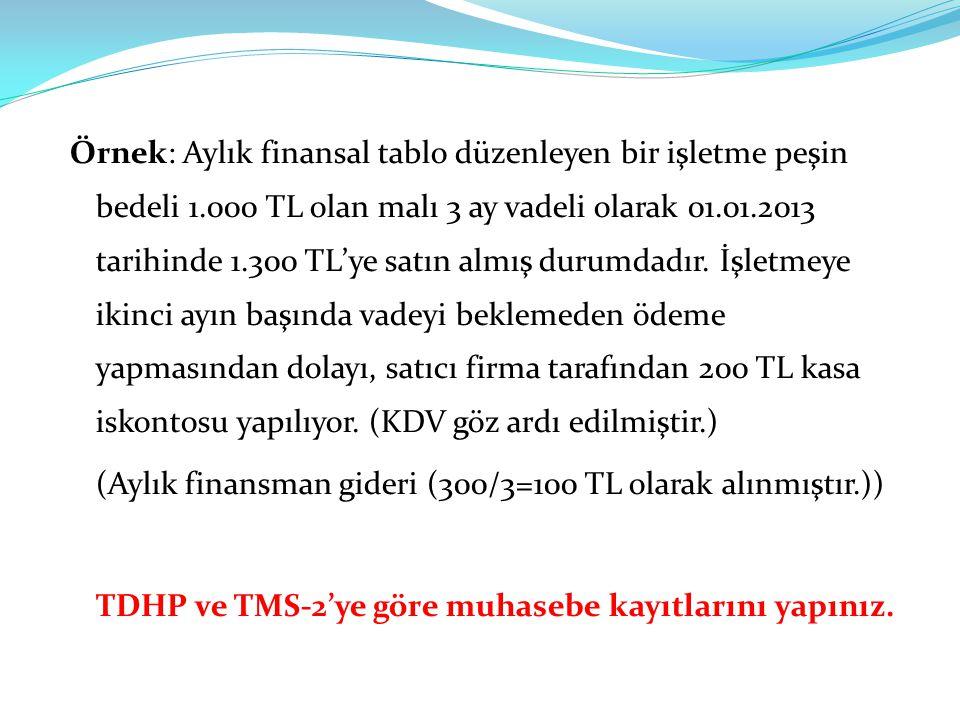 Örnek: Aylık finansal tablo düzenleyen bir işletme peşin bedeli 1.000 TL olan malı 3 ay vadeli olarak 01.01.2013 tarihinde 1.300 TL'ye satın almış durumdadır.
