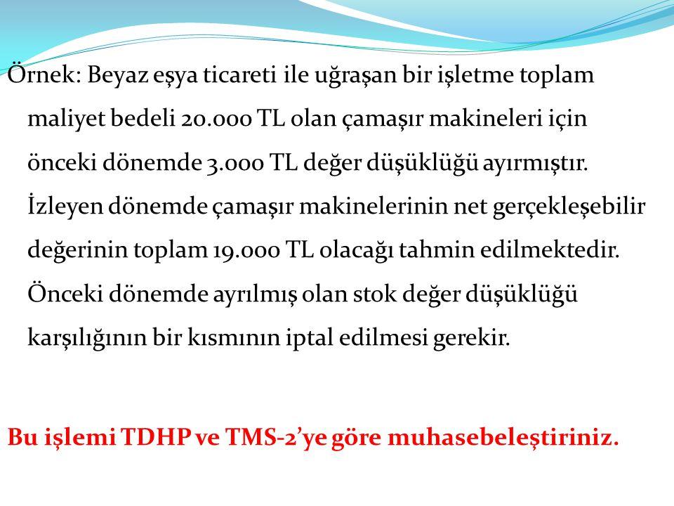 Örnek: Beyaz eşya ticareti ile uğraşan bir işletme toplam maliyet bedeli 20.000 TL olan çamaşır makineleri için önceki dönemde 3.000 TL değer düşüklüğü ayırmıştır.